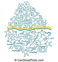 Overcrowded beach vector illustration
