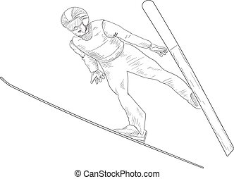 Ski jumping. A man in the air