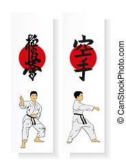Two booklets with the image of man occupying karate and...
