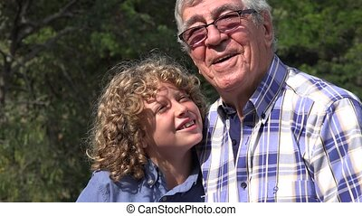 Grandfather and Grandson Silly Time - Grandfather and...
