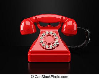 Red vintage phone on black background Hotline concept 3d