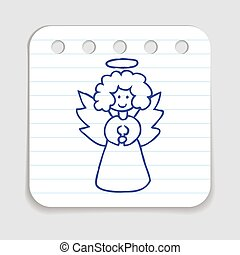 Christmas Angel - Doodle icon of Christmas Angel Blue pen...