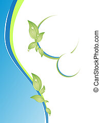wellness - vector illustration of leaves on blue waves