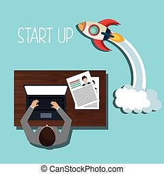 Business strat-up company graphic design, vector...
