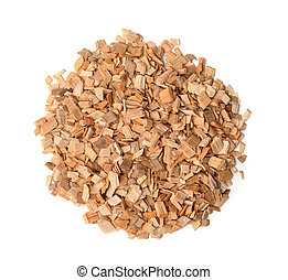 Wood chips - Top view of wood chips isolated on white