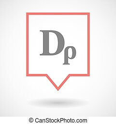 Isolated tooltip line art icon with a drachma currency sign...