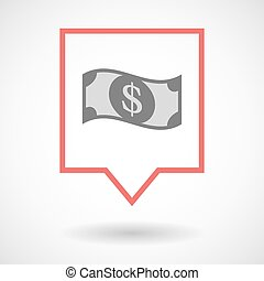 Isolated tooltip line art icon with a dollar bank note