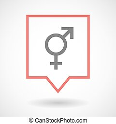 Isolated tooltip line art icon with a transgender symbol -...