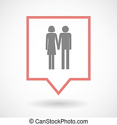Isolated tooltip line art icon with a heterosexual couple...