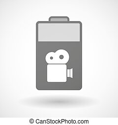 Isolated battery icon with a film camera