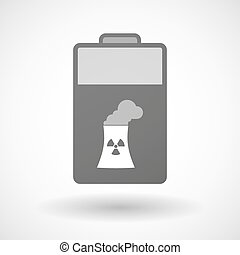 Isolated battery icon with a nuclear power station -...