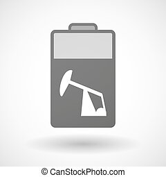 Isolated battery icon with a horsehead pump - Illustration...