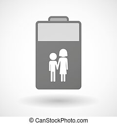 Isolated battery icon with a childhood pictogram -...