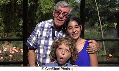 Grandfather and Grandchildren Photobomb