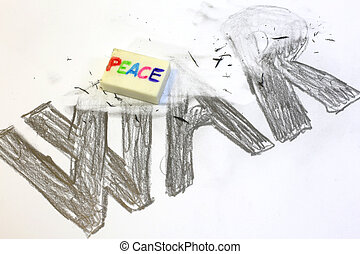 Eraser with written PEACE deletes the written WAR - Eraser...