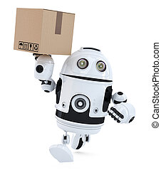 Robot on a hurry delivering package. Isolated. Contains clipping path
