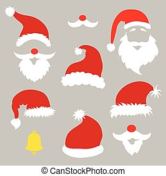 Christmas photo booth and scrapbooking vector set Santa, -...