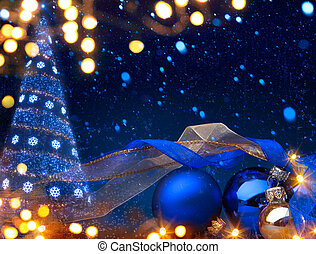 art Christmas background with a christmas ornament on blue background