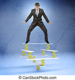 Businessman standing on balance with dollar sign and looking...