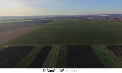 Superb Aerial view of green fields HD