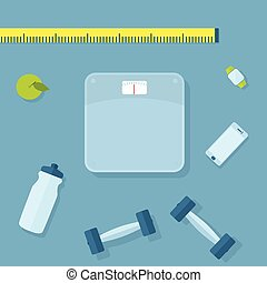 Fitness items - Set of fitness items. Scales, dumbbells,...