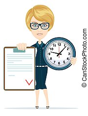 attractive bookkeeper with folder and clock over white
