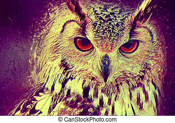 Owl portrait Digital paint