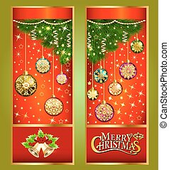 illustration Christmas greeting card with Christmas tree branches and toys