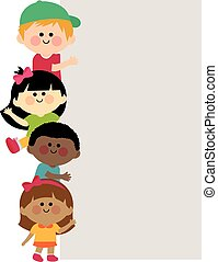 Kids holding vertical blank banner - A happy multicultural...