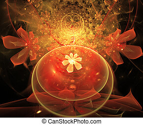 fractal illustration background with a pattern of flowers