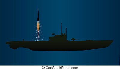 Missile Undersea Launch - A submerged submarine launching a...