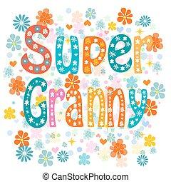 Super granny. Vector - Super granny, cartoon old lady in an...
