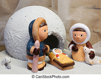 nativity scene with the Eskimos to the north pole and a...