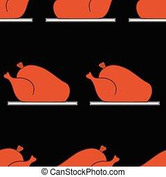 Seamless pattern with roast turkey Vector illustration