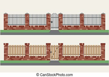 Brick fences with wooden and metal.