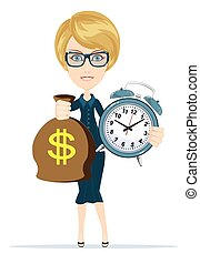 Woman with clock and money