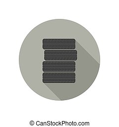 Car tires icon. - Car tires flat icon. Stacked black tires...