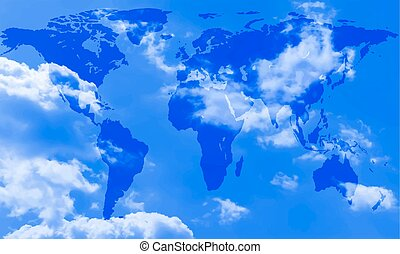 Abstract world map of the sky background Elements of this...