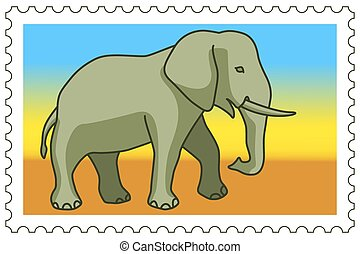 Elephant on stamp - Illustration of the cartoon elephant on...