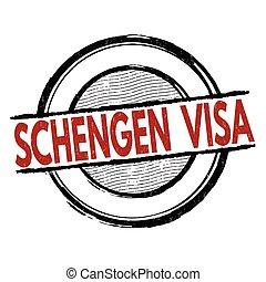 Schengen visa stamp - Schengen visa grunge rubber stamp on...
