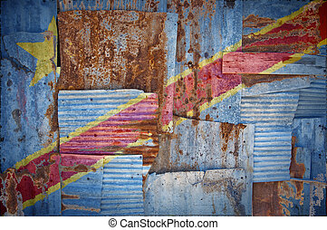 Corrugated Iron Congo Kinshasa Flag - An abstract background...