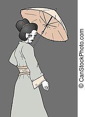 vintage geisha illustration - Creative design of vintage...