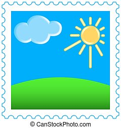 Sun and clouds on  stamp