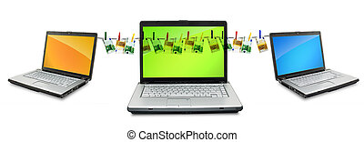 Laptops - Open laptops showing keyboard and screen isolated...