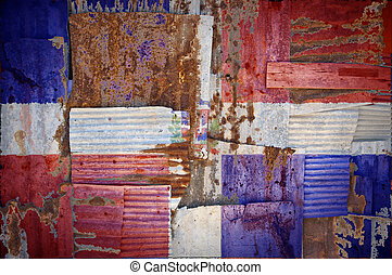 Corrugated Iron Dominican Republic Flag - An abstract...