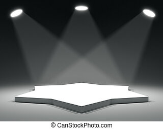 Star shape stage with soffits and light