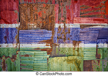 Corrugated Iron Gambia Flag - An abstract background image...