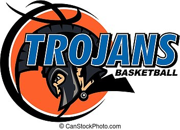 trojans basketball team design with helmet and ball for...