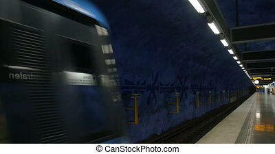 Train of Stockholm Metro Arriving to the Station - Modern...