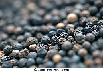Black pepper background.